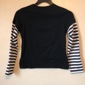 77309a758fbf52 Hot Topic Shirts & Tops - Black long sleeve t-shirt with striped sleeves.